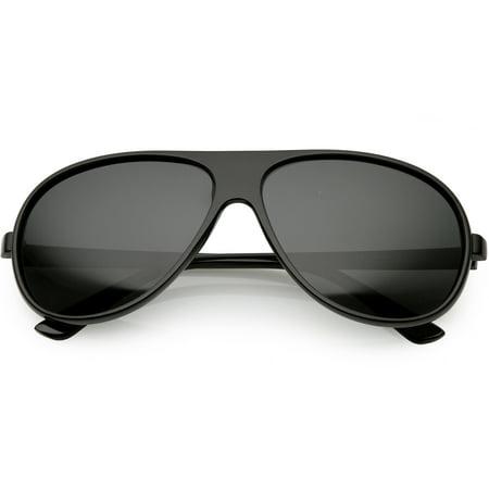 c3d4d67d99 sunglass.la - Oversize Flat Top Aviator Sunglasses Polarized Lens 61mm  (Shiny Black   Smoke Polarized) - Walmart.com
