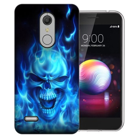 MUNDAZE LG K10 K30 2018 Harmony 2 Xpression Plus Flaming Skull Design Phone Case Cover