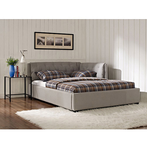 Lounge Upholstered Full Bed, Stone