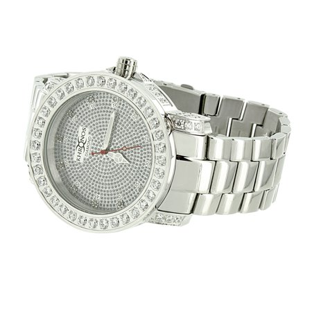 Genuine Diamond Khronos Watch White Gold Finish Stainless Steel Back Analog 48mm Water Resistant