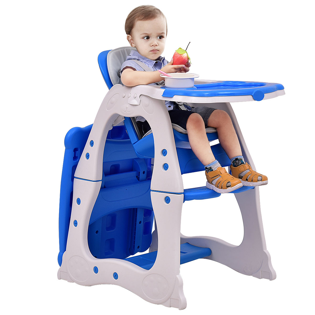Goplus 3 in 1 Baby High Chair Convertible Play Table Seat Booster Toddler Feeding Tray Blue