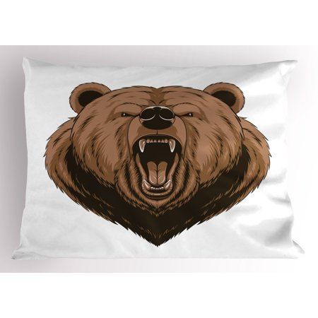 Bear Pillow Sham Angry Scary Face Powerful Vicious Beast Mascot Cartoon Character with Fangs, Decorative Standard Size Printed Pillowcase, 26 X 20 Inches, Caramel Dark Brown, by (The Best Cartoon Characters)