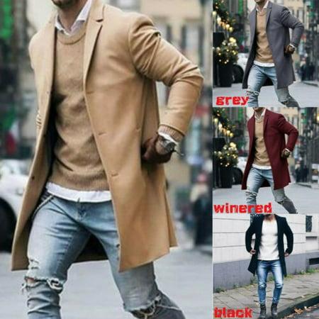 Fashion Men's Trench Coat Warm Thicken Jacket Woolen Peacoat Long Overcoat Tops Ibex Wool Vest