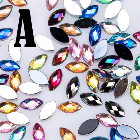 BEAD BEE 500Pcs Glitter Horse Eye Rhinestones 3D Nail Art Decorative Glue Acrylic