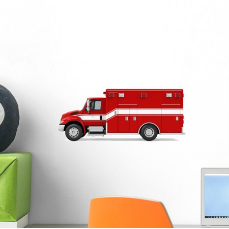 Ambulance Emergency Fire Truck Wall Decal Wallmonkeys Peel and Stick Decals for Boys (12 in W x 7 in H) WM502704 ()