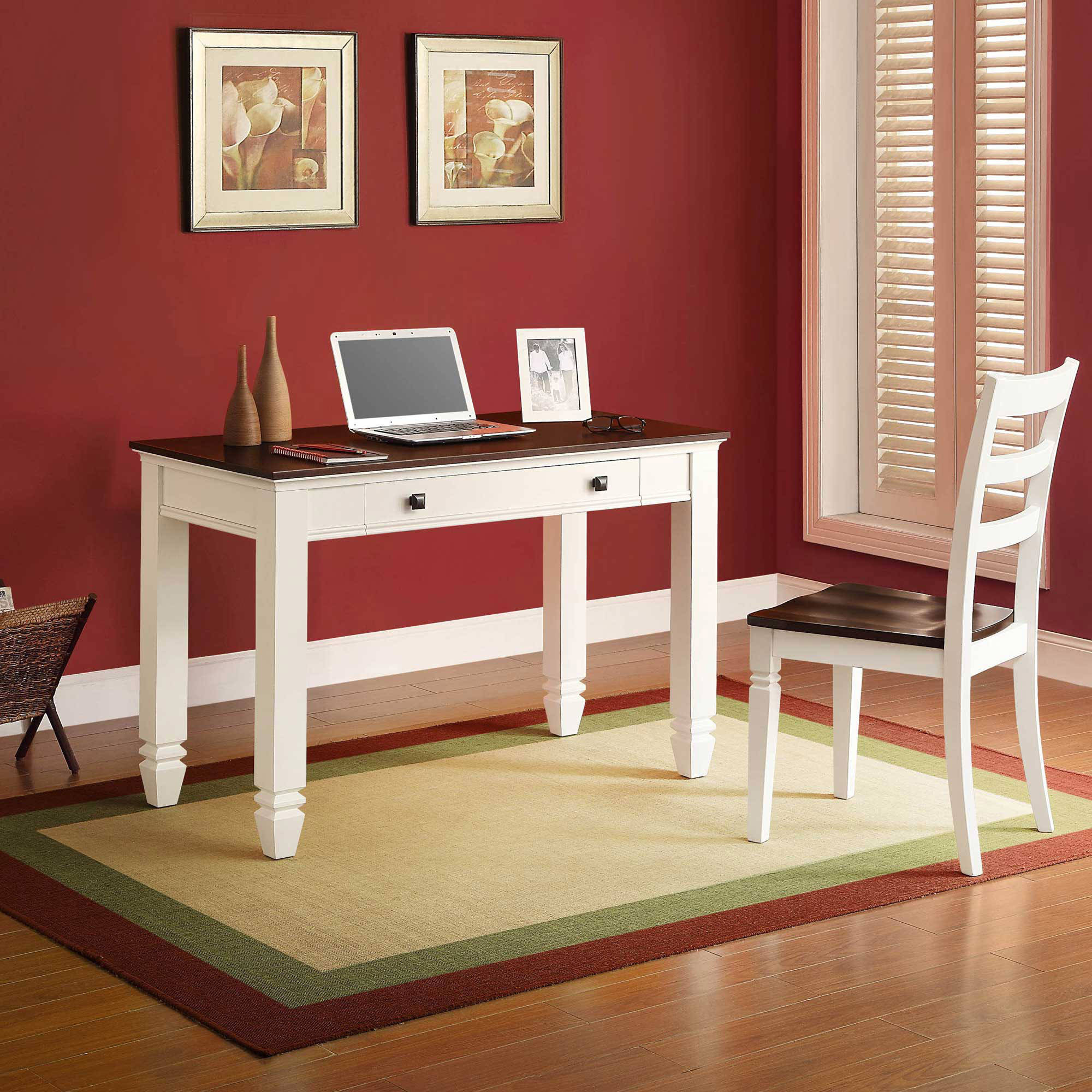 White and Cherry Writing Desk
