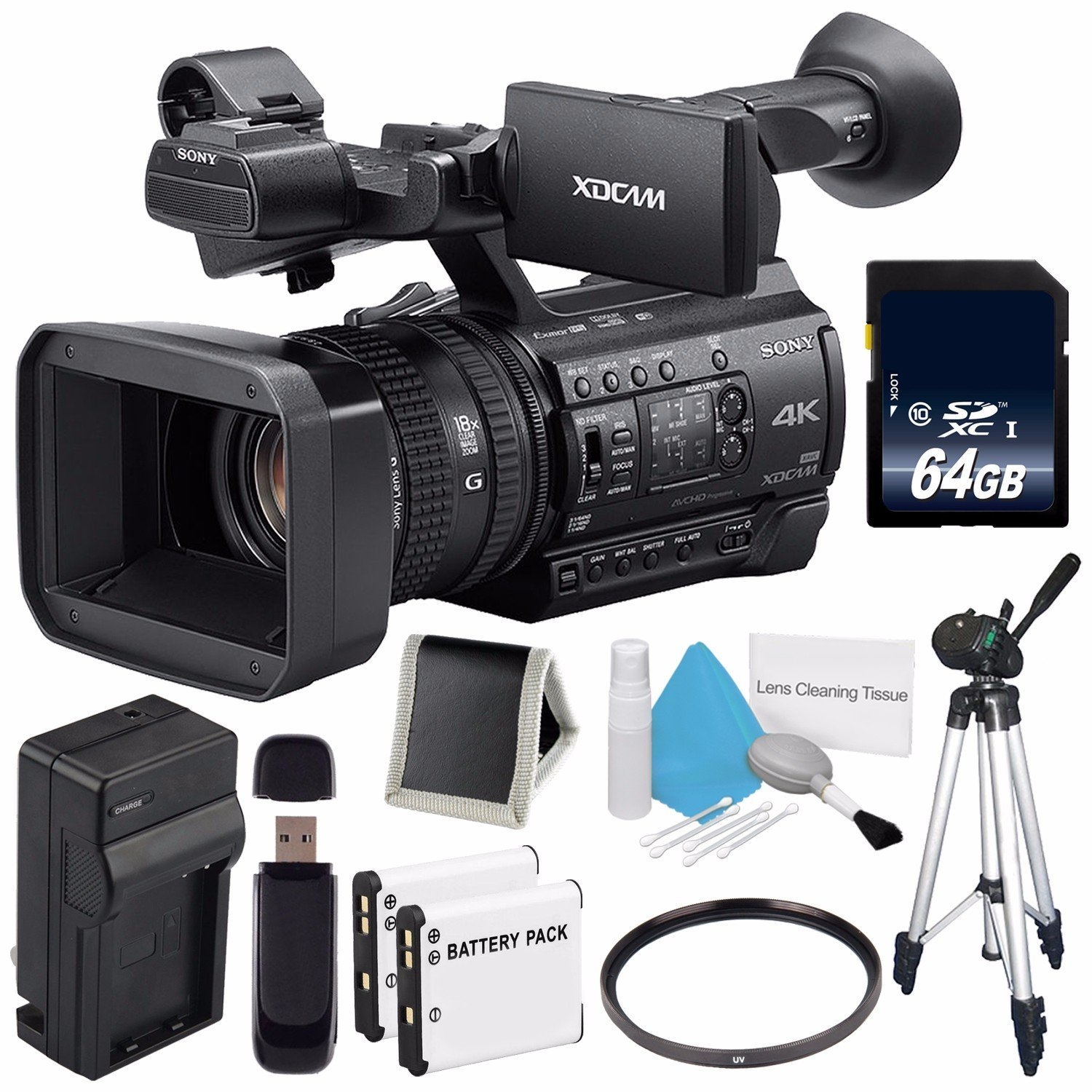 Sony PXW-Z150 4K XDCAM Camcorder (International Model) No Warranty + 64GB SDXC Class 10 Memory Card + NP-F970 Rechargeable Lithium Ion Battery + Charger Kit for Sony NP-F970 Bundle