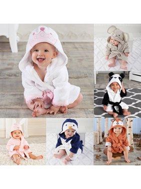 Newborn Infantil Toddler Baby Unisex Robe Cartoon Animal Hooded Bathrobe Bath Towel Bath Terry Bathing Robe 6-12M