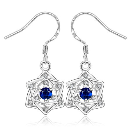 Aventura Jewellery Sterling Silver Sapphire Star Pendant Drop Earring