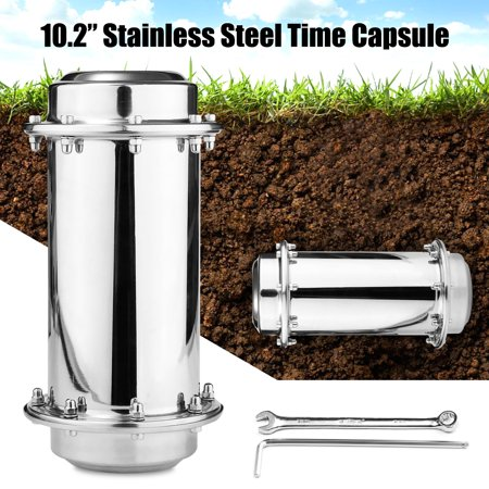 10.2'' Stainless Steel Time Capsule Lock Container Storage Waterproof Future Gift New