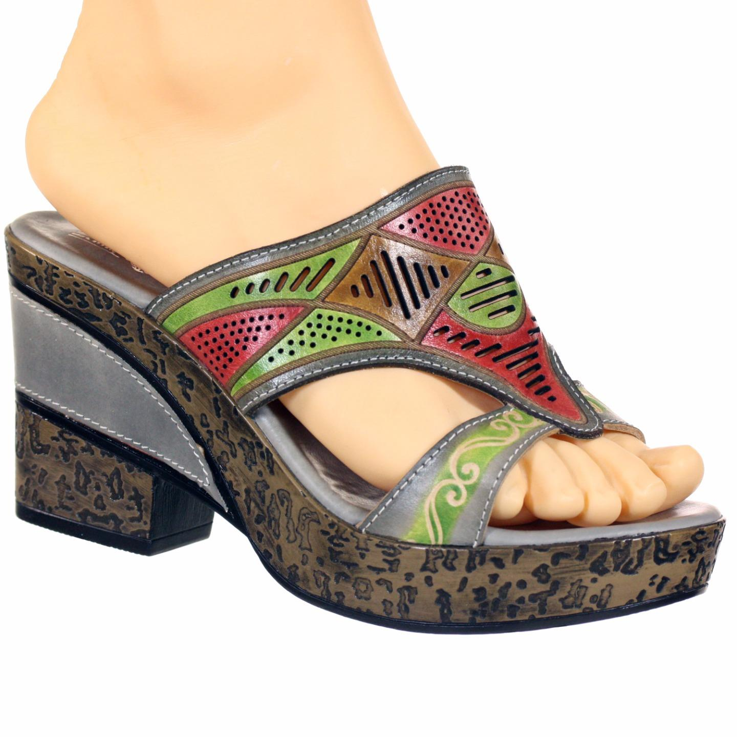 Binella L'Artiste Collection By Spring Step Women's Sandal Grey Multi EU 37 US 7 by Spring Step