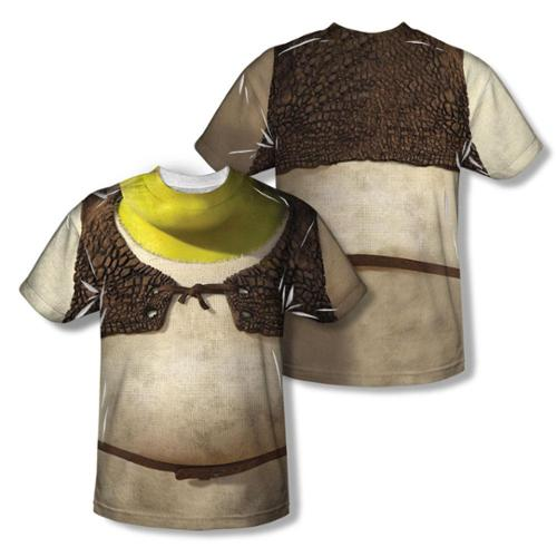Shrek Costume (Front Back Print) Short Sleeve Shirt Adult Poly Crew