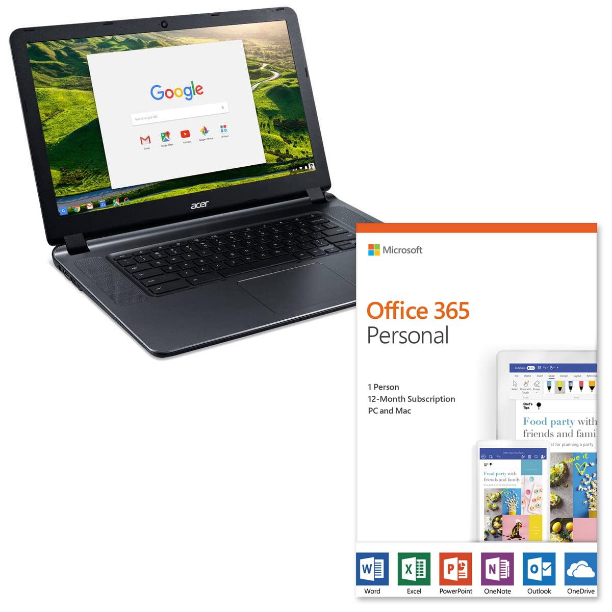 "Acer CB3-532-C47C 15.6"" Chromebook with Microsoft Office 365 Value Bundle"