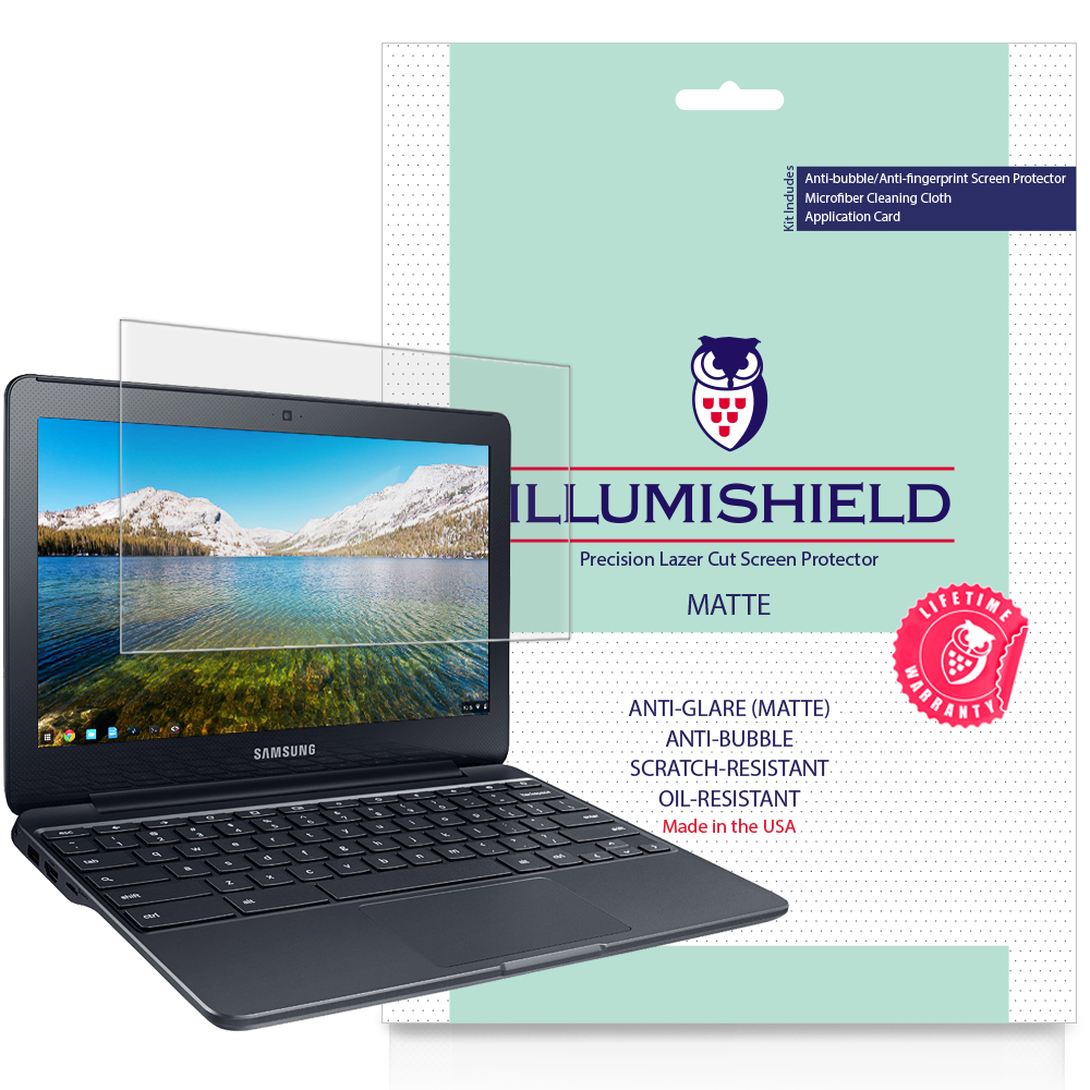 2x iLLumiShield Matte Anti-Glare Screen Protector for Samsung Chromebook 3 11.6