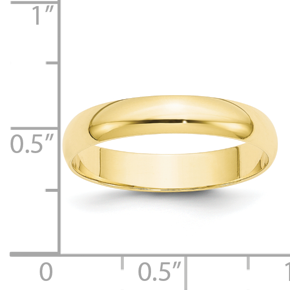 10K Yellow Gold 4mm Light Weight Half Round Band Size 9 - image 1 of 3