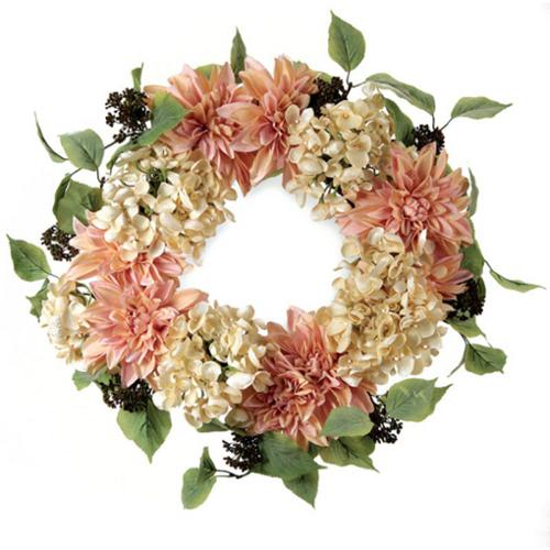 """Pack of 2 Artificial Pink and Cream Hydrangea and Dahlia Floral Wreaths 24"""""""