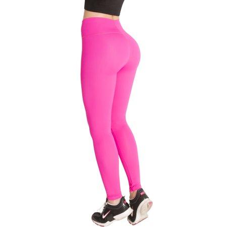 Rose Waistband - Butt Lifter Leggings High Rise Waist Levanta Cola Internal Powernet Girdle Colombianos Sports Yoga Gym Fitness Fuchsia 400FF