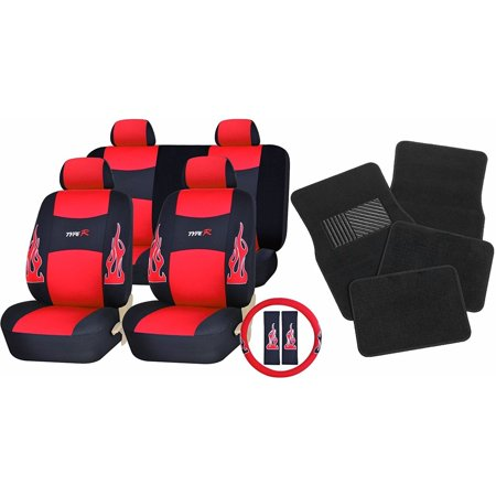 Flame Seat (Unique Imports 17pc Flames Red& Black Type R Seat Covers Head Rest Covers & Mats )