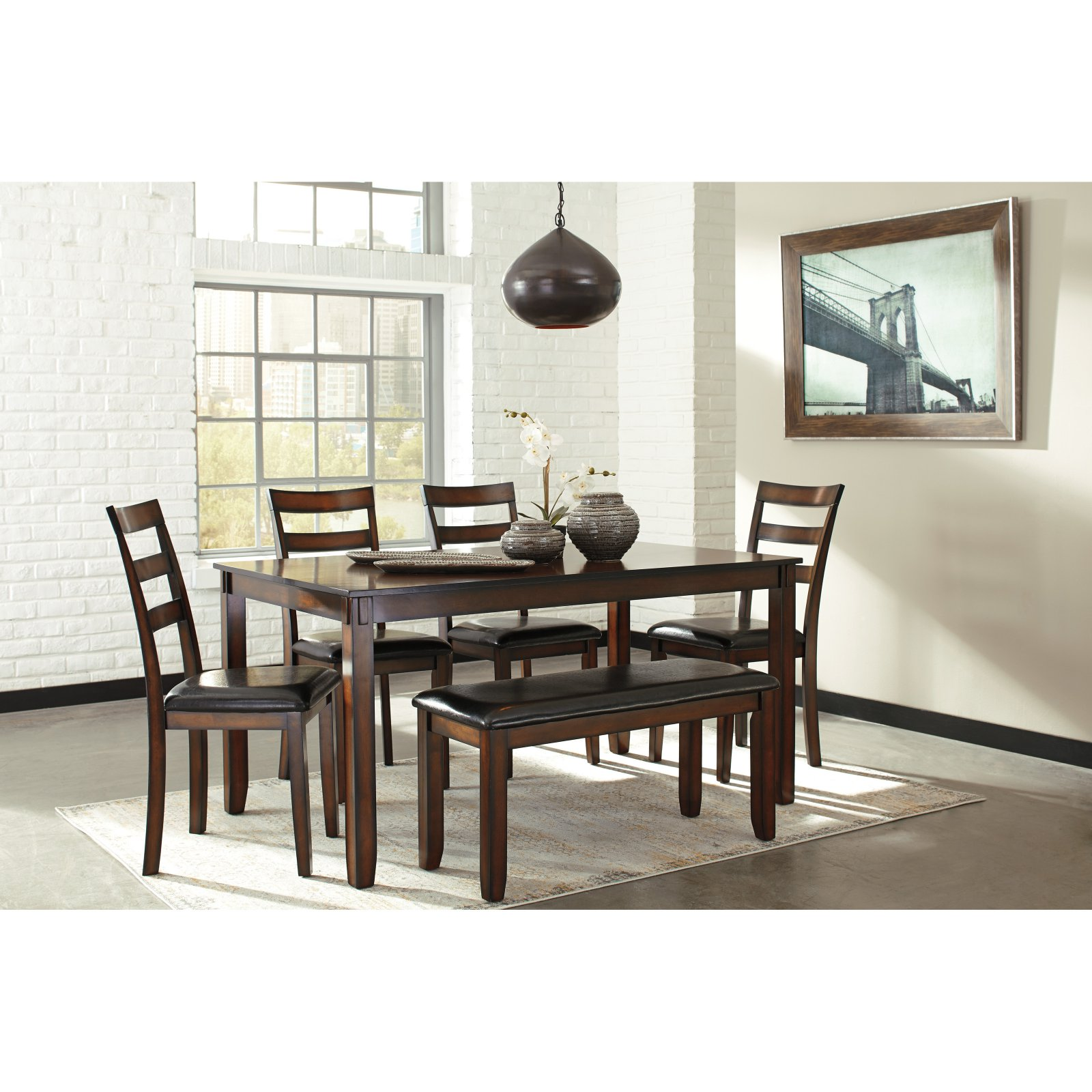 Signature Design By Ashley Coviar 6 Piece Dining Table Set Walmartcom
