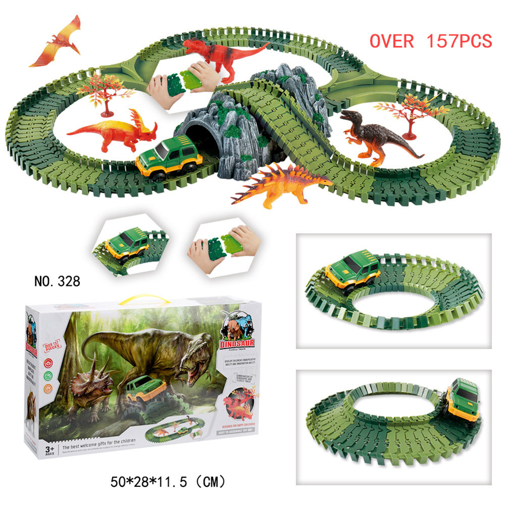 Simulate Dinosaur Track Racing Car Set Assembly Blocks Sound Light Effect Kids Toy Gift Color:328 Dinosaur Track (157PCS)