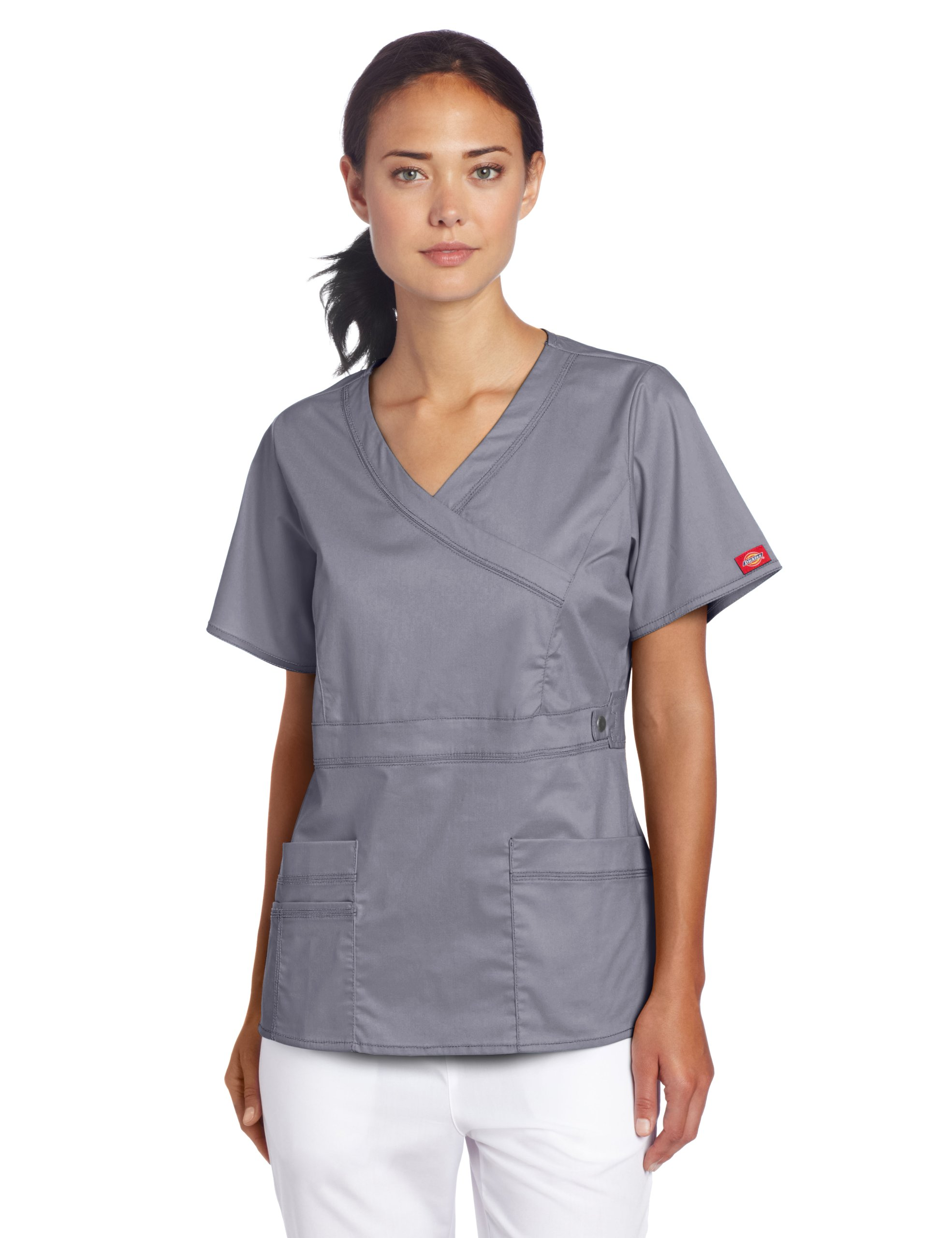 Dickies Medical Scrub Pewter Contrast Wrap Top Size S