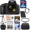 Nikon Coolpix P900 Wi-Fi 83x Zoom Digital Camera with 32GB Card + Battery + Case + Tripod + Filter + HDMI Cable + Kit Nikon Coolpix P900 Wi-Fi Digital Camera (Black) <br>Amazing 83x power zoom, outstanding image quality and<br> built-in Wi-Fi connectivity all in an easy-to-handle package. The zoom power of the <b>COOLPIX P900</b> is nothing short of spectacular. This is 2000mm of optical zoom -- more than any Nikon COOLPIX yet. Advanced shooters will appreciate the outstanding image quality and DSLR styling -- a sure grip, a <b>swiveling Vari-angle display</b>, a <b>high-resolution Electronic Viewfinder</b> that turns on automatically when lifted to your eye, even a <b>PSAM mode control dial</b>. Those who simply want great photos and <b>Full HD videos</b> without any fuss will appreciate the point-and-shoot ease and long battery life -- up to 360 shots per charge! And everyone will appreciate the <b>built-in Wi-Fi</b> and <b>Near Field Communication technology (NFC) connectivity</b> which wirelessly connects the COOLPIX P900 to a compatible smartphone or tablet for instant photo sharing and remote camera control. <br><br><b>Key Features:</b><br> <b>83x Optical Zoom, 166x Dynamic Fine Zoom</b><br> With 2,000mm equivalent focal length, subjects barely visible with the naked eye can fill your frame. And if they dont, Dynamic Fine Zoom, an enhanced digital zoom effectively doubles that reach -- to a 4,000mm equivalent! If you lose sight of your subject while zoomed in, press the Snap-Back Zoom button for a quick zoomed-out view. Find your subject again and then release the button -- the COOLPIX P900 will zoom right back in. The whole time, 5.0 stops Dual Detect Optical VR improves VR performance using enhanced detection accuracy to help keep your photos sharp and your videos steady. <br><br><b>Show off your creativity</b><br> Unleash your creativity with the COOLPIX P900. Turn on Moon Mode, zoom in with the power of 83x optical zoom and capture stunning detailed images