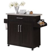 Pemberly Row Kitchen Island with Spice Rack in Chocolate Gray