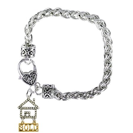 Silver And Gold Tone Realty  Sold  Clear Crystal House Charm   Bracelet