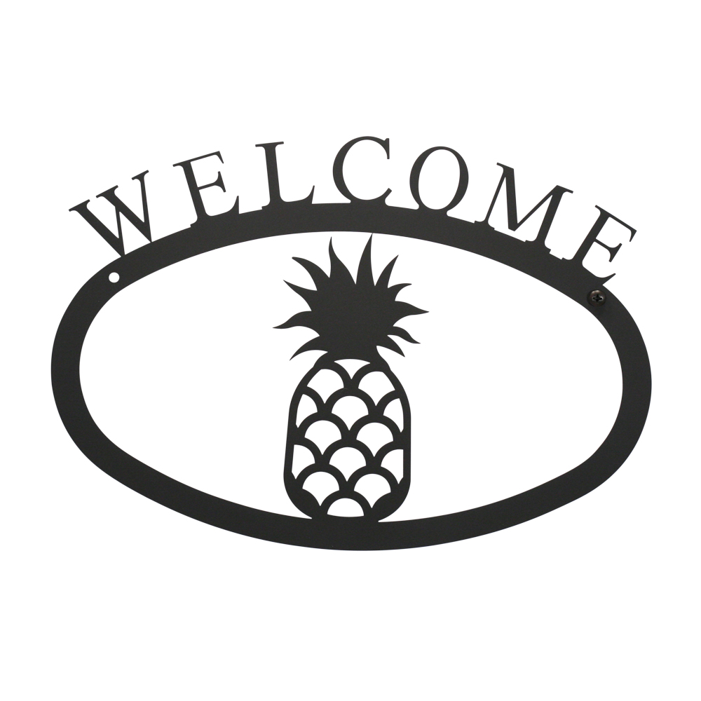 (Price/Each)Village Wrought Iron WEL-44-L Pineapple - Welcome Sign Large
