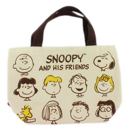 Snoopy and His Friends Tan Colored Mini Canvas Tote Bag - Snoopy Bag