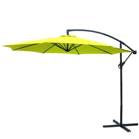 10 Foot Offset Patio Umbrella Lime Green Polyester Outdoor Aluminum Crank
