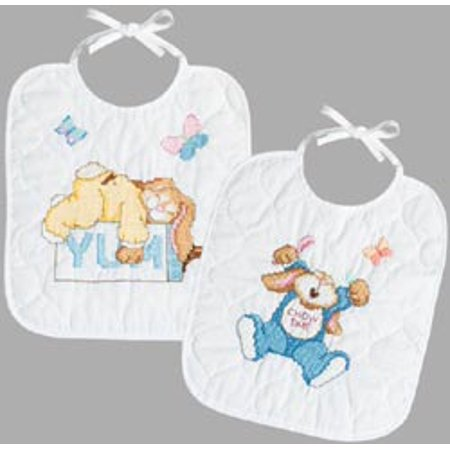 Sleepy Bunnies Bibs Stamped Cross Stitch Kit-9.5
