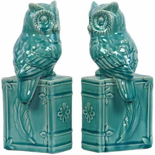 Urban Trends Collection: Ceramic Owl Bookend, Gloss Finish, White