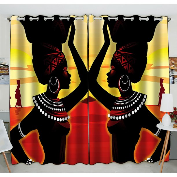 Gckg African Woman Window Curtain African Woman Grommet Blackout Curtain Room Darkening Curtains For Bedroom And Kitchen Size 52 W X 84 H Inches Two Piece Walmart Com Walmart Com