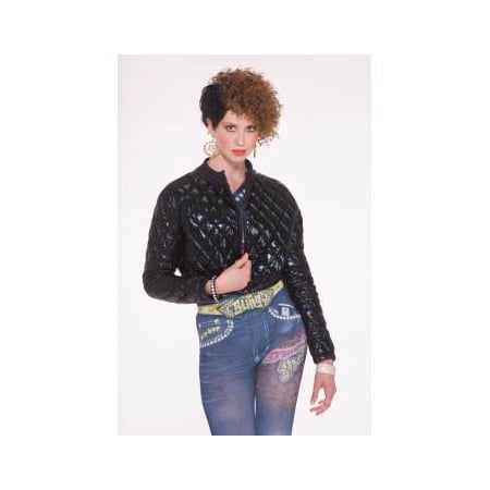 Hip Hop 70's 80's Quilted Black Jacket Costume (70's And 80's Party Costumes)