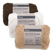 Size 4 Medium 100% Cotton Yarn - 3 Pack of Skeins in Assorted Colors - Knit, Crochet, Weave, Knot, Macrame - Machine Washable and Dryable