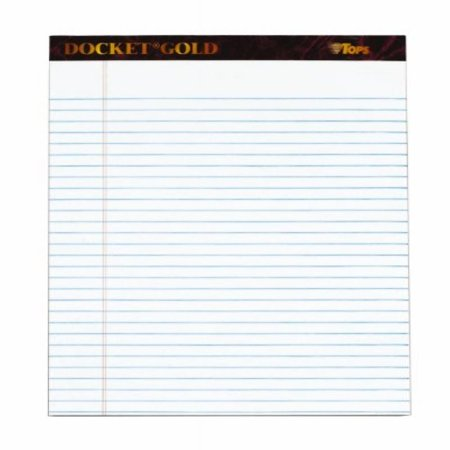 TOPS Docket Gold Writing Tablet, 8-1/2 x 11-3/4 Inches, Perforated, White, Legal/Wide Rule, 50 Sheets per Pad, 6 Pads per Pack (99709)