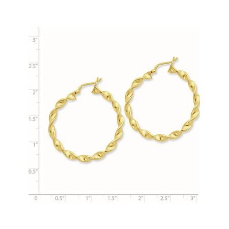 Argent 925 Boucles d'oreilles -flashed 35 mm Patterned Twist Hoop (4.5x31mm) de - image 2 de 2