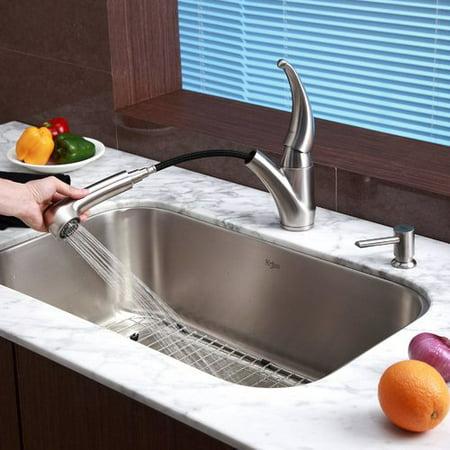 Kraus 31.5\'\' x 18.38\'\' Undermount Kitchen Sink Set with Kitchen ...