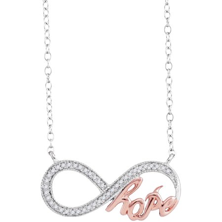 Hope Diamond Necklace - 10kt White Gold Womens Round Diamond Infinity Hope Rose-tone Pendant Necklace 1/10 Cttw
