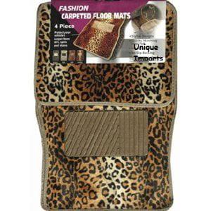 Set of 4 Universal Fit Animal Print Carpet Floor Mats for Cars Truck - Leopard & Bonus Detailing Wash Dust Mitt