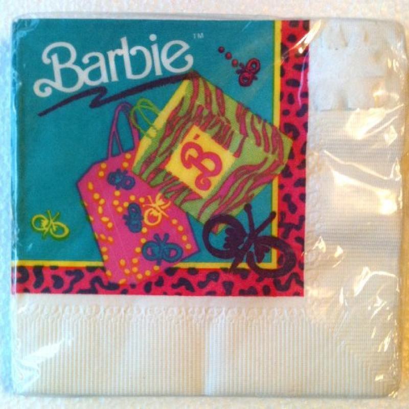 Vintage BARBIE 3-Ply Girls KIDS Party Napkins (16 Count)