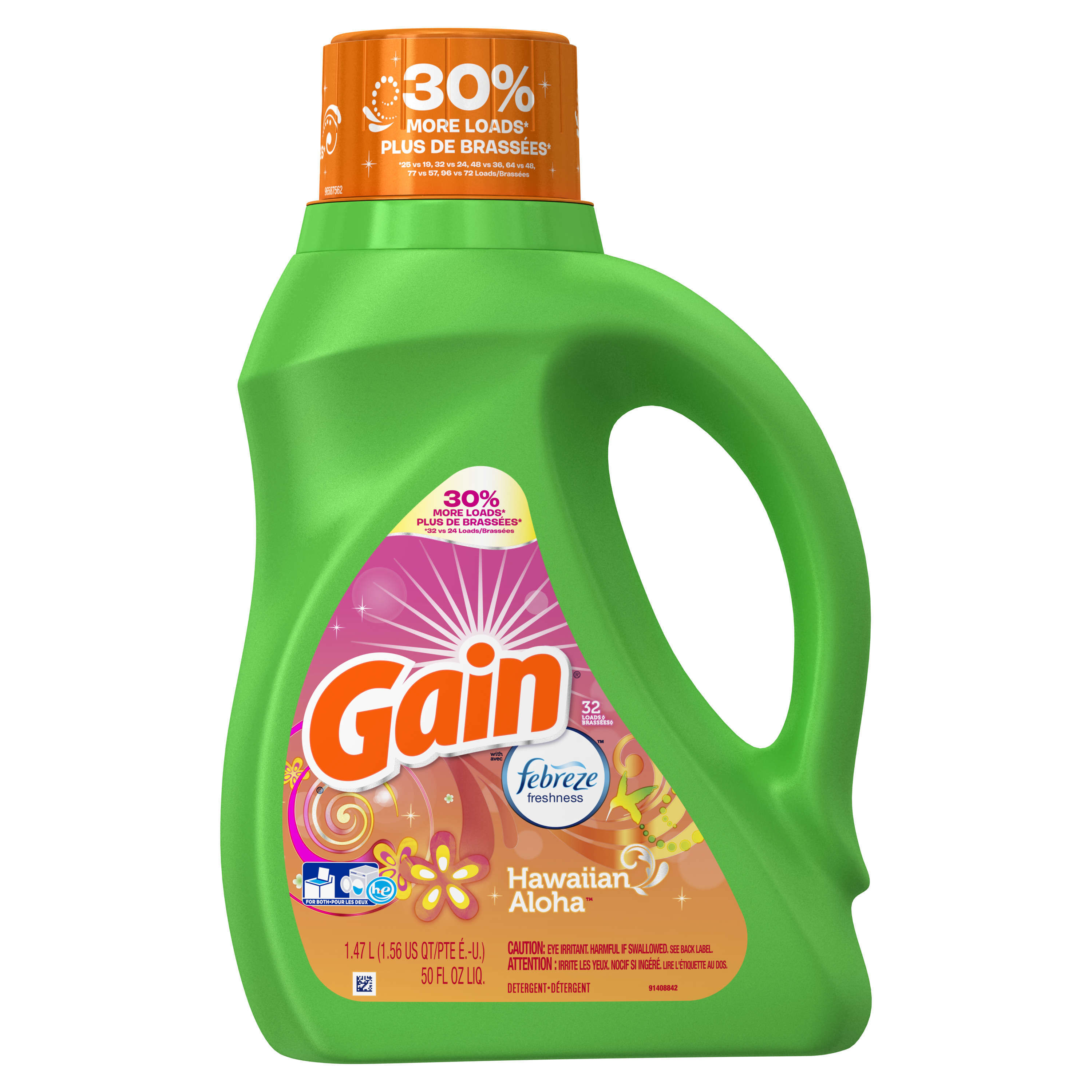 Gain Liquid Laundry Detergent with Febreze Freshness, Hawaiian Aloha, 32 Loads 50 fl oz