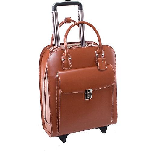 McKlein UPTOWN, Vertical Wheeled Ladies' Laptop Briefcase, Top Grain Cowhide Leather, Navy (97697)