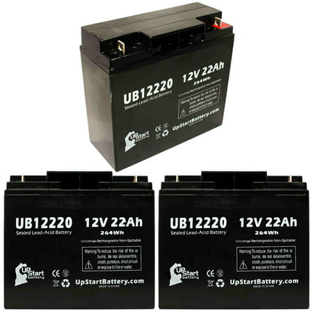 3x Pack - Compatible APC SMART-UPS SU2200US Battery - Replacement UB12220 Universal Sealed Lead Acid Battery (12V, 22Ah, 22000mAh, T4 Terminal, AGM, SLA)
