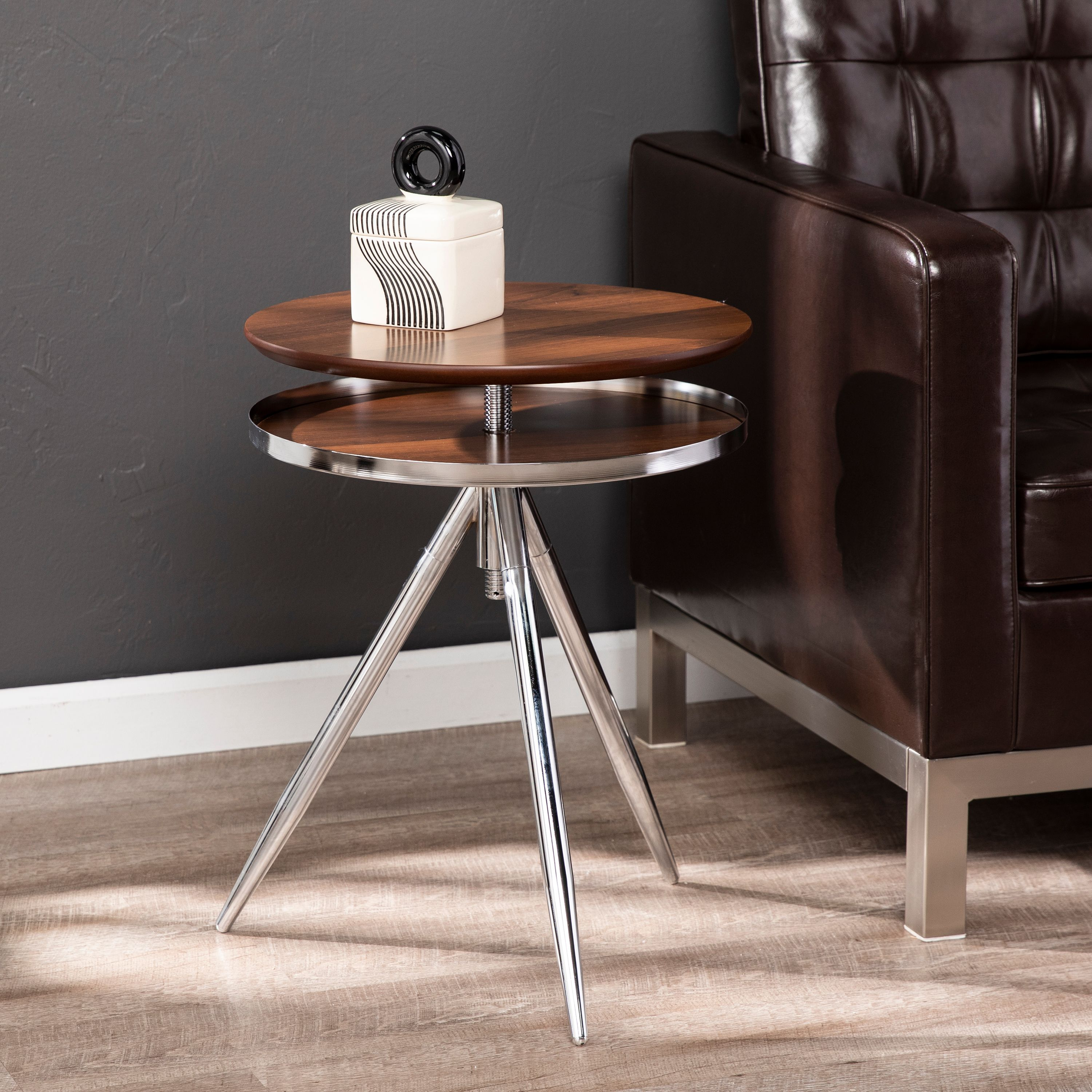 Bovai Adjustable Accent Table, Midcentury Modern, Silver