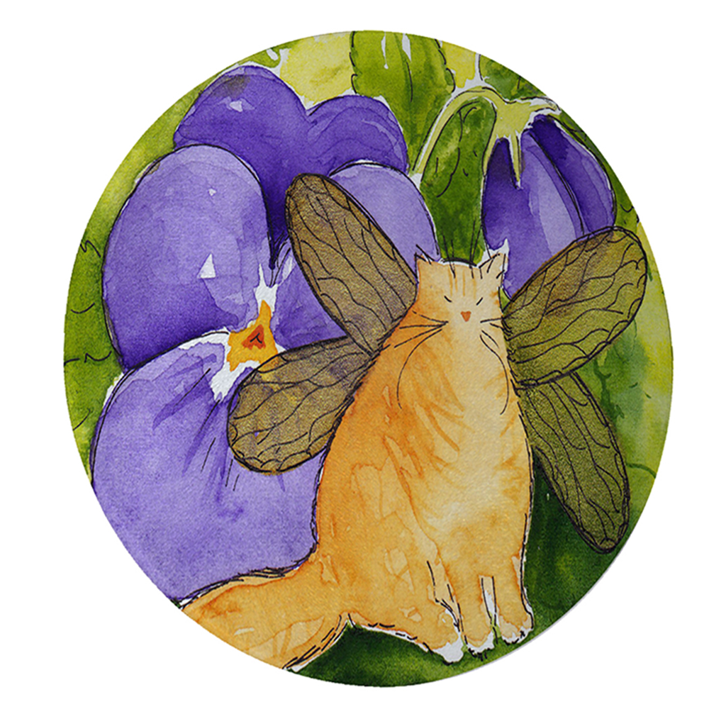 """KuzmarK 12"""" Round Glass Cutting Board - Ginger Tabby Maine Coon Kitty Fairy with Purple Pansies Cat Art by Denise Every"""
