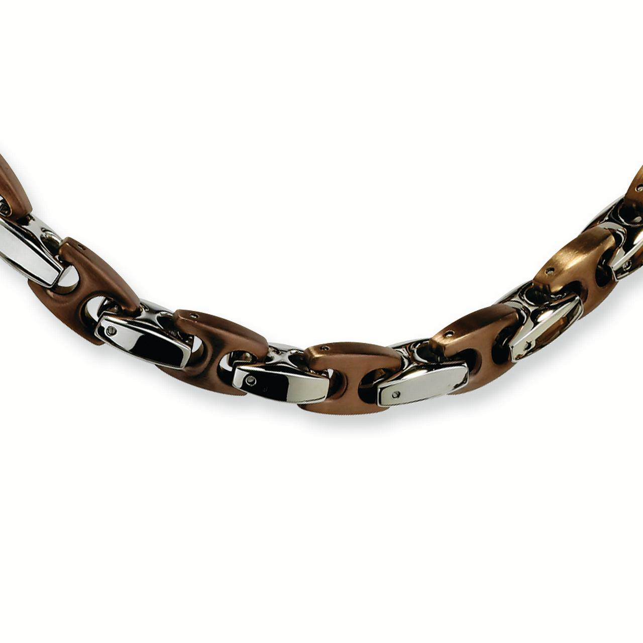 Stainless Steel Chocolate IP-plated 24in Necklace