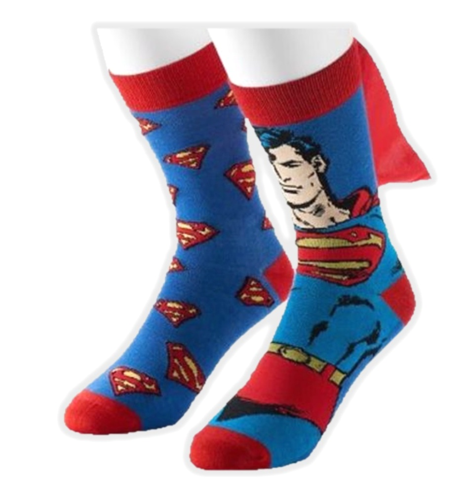 DC Comics Superman Casual Crew Socks 2 Pairs with Cape Adult Mens 10-13 - image 1 of 1