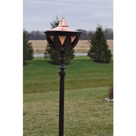 """Image of """"Starlite 61""""""""H Bronze Bali Patio Torch with Hammered Copper Outdoor Torch Head"""""""